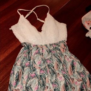 Floral short dress with low cross cross back